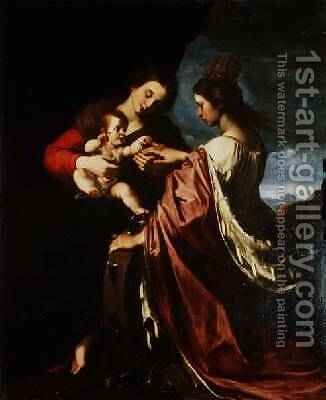 The Mystic Marriage of St Catherine by Giovanni Giovanni da San (Mannozzi) - Reproduction Oil Painting