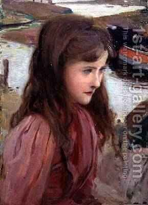 Study of a Young Girl 1898 by Harrington Mann - Reproduction Oil Painting