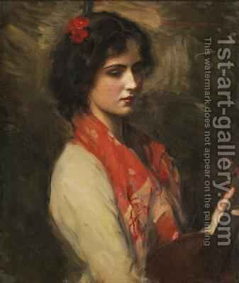 Young Woman with Mandolin 1901 by Harrington Mann - Reproduction Oil Painting