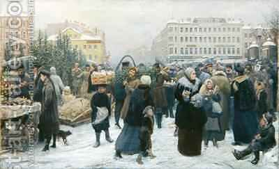 Christmas Fair by Heinrich Matvejevich Maniser - Reproduction Oil Painting