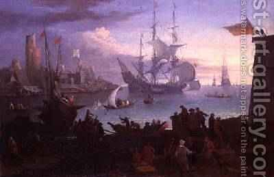 Marine Scene by Adrien Mangsland - Reproduction Oil Painting