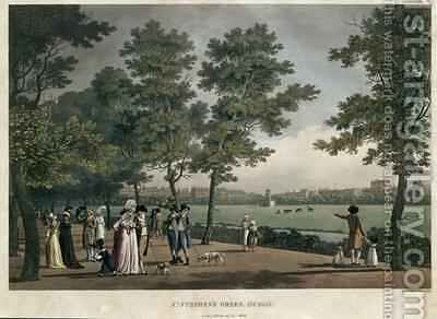 St Stephens Green Dublin from a set of twenty views of Dublin 1796 by James Malton - Reproduction Oil Painting