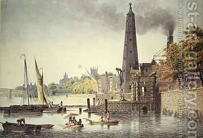 York Buildings looking towards Westminster with a View of the Water Tower by James Peller Malcolm - Reproduction Oil Painting