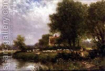 Sheep by a River by Henry Maidment - Reproduction Oil Painting