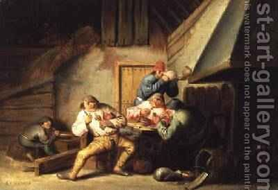 Peasants Smoking and Drinking by Cornelis Mahu - Reproduction Oil Painting