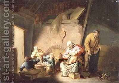 A Woman Tending her Child in an Interior by Cornelis Mahu - Reproduction Oil Painting