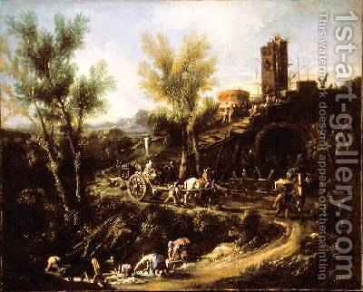 Landscape with Gypsies and Washerwoman 1705-10 by Alessandro Magnasco - Reproduction Oil Painting