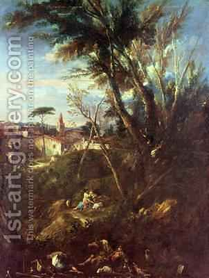 Wooded Landscape by Alessandro Magnasco - Reproduction Oil Painting