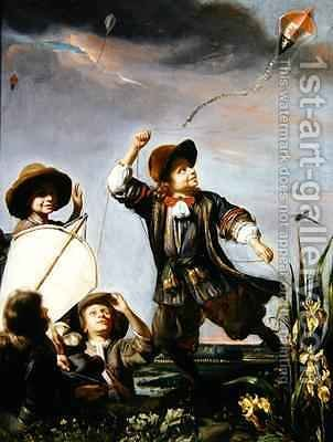 Boys Flying Kites by (attr. to) Maes, Godfried - Reproduction Oil Painting