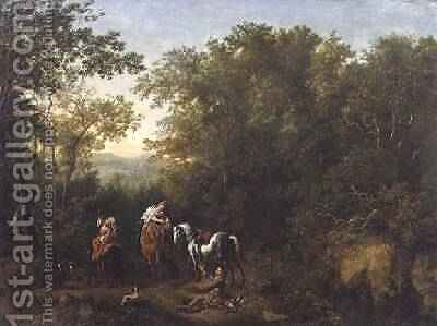 A Hawking Party in a Wooded Landscape by Dirk Maes - Reproduction Oil Painting