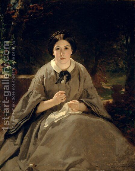 A Lady in Grey 1859 by Daniel Macnee - Reproduction Oil Painting