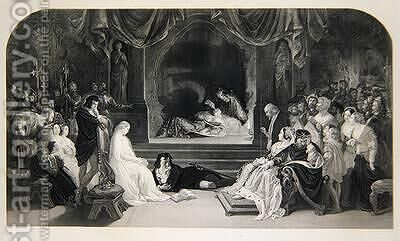 The Play Scene Act III Scene II of Hamlet by William Shakespeare by (after) Maclise, Daniel - Reproduction Oil Painting
