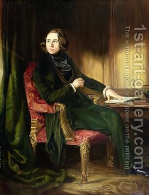 Charles Dickens 1839 by (after) Maclise, Daniel - Reproduction Oil Painting