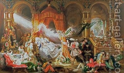 The Sleeping Beauty 1842 by Daniel Maclise - Reproduction Oil Painting