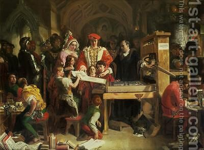 Caxtons Printing Press 1851 by Daniel Maclise - Reproduction Oil Painting
