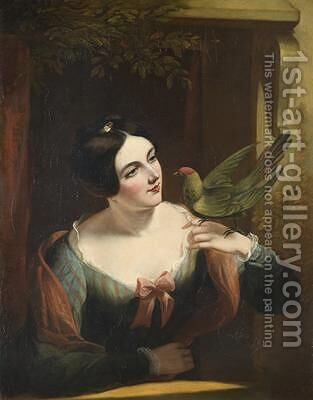 The Pet Bird by Daniel Maclise - Reproduction Oil Painting