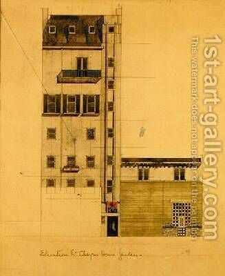 Elevation of Proposed Studio in Glebe Place and Upper Cheyne Walk by Charles Rennie Mackintosh - Reproduction Oil Painting