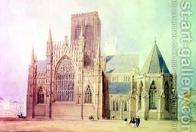 York Minster east view by (attr. to) Mackenzie, Frederick - Reproduction Oil Painting