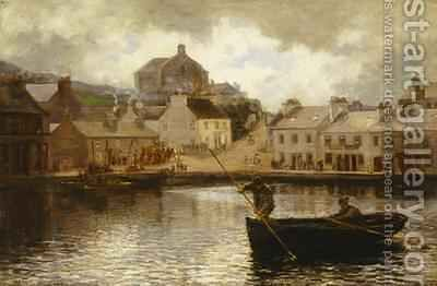 Catching Dabs View in Tarbert Harbour Scotland 1879 by Hamilton Macallum - Reproduction Oil Painting