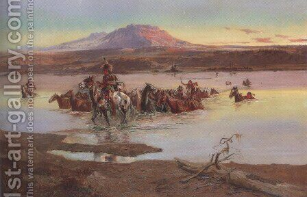 Fording The Horse Herd 1900 by Charles Marion Russell - Reproduction Oil Painting