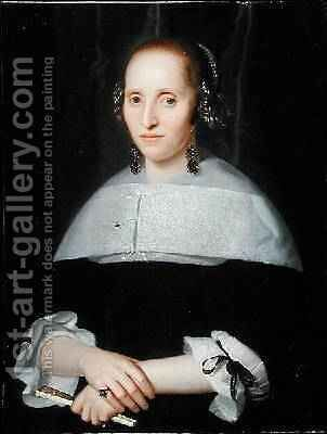Portrait of a Lady in a Black Dress and Lace Collar 1665 by Isaac Luttichuys - Reproduction Oil Painting