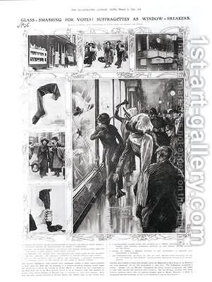Glass-Smashing for Votes Suffragettes as Window-Breakers 1912 by (after) Lunt, Wilmot - Reproduction Oil Painting