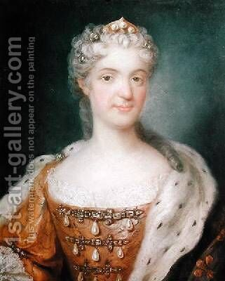 Portrait of Marie Leczinska 1703-68 Queen of France by Gustav Lundberg - Reproduction Oil Painting