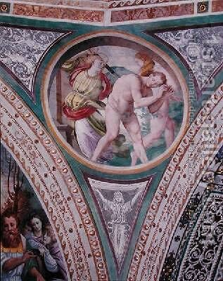 The Expulsion of Adam and Eve from the pendentive of the dome 1532-36 by Bernardino Luini - Reproduction Oil Painting
