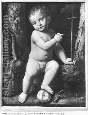 The infant Christ as saviour of the world 1520 by Bernardino Luini - Reproduction Oil Painting