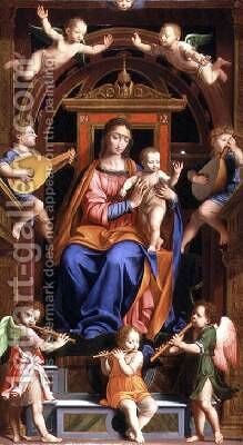 Madonna and Child Enthroned by Bernardino Luini - Reproduction Oil Painting