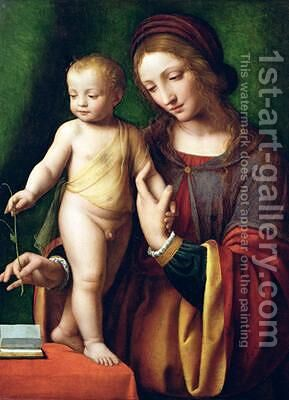 The Virgin and Child with a Columbine 3 by Bernardino Luini - Reproduction Oil Painting