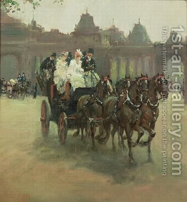 Carriages at Hyde Park by Albert Ludovici - Reproduction Oil Painting