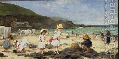 Our Neighbours at the Seaside Granville France by Albert Ludovici - Reproduction Oil Painting