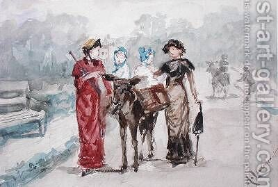 The Donkey Ride by Albert Jnr. Ludovici - Reproduction Oil Painting