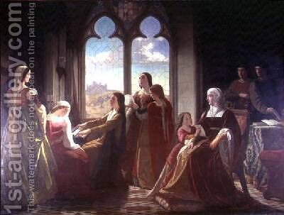 Queen Isabella presiding over the education of her sons 1864 by I. Lozano - Reproduction Oil Painting
