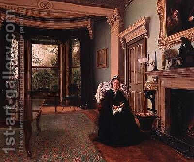 Victorian interior with seated lady by Charles Frederick Lowcock - Reproduction Oil Painting