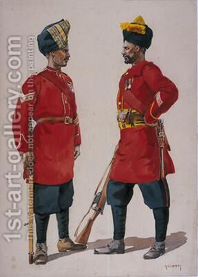 Soldiers of the 5th Light Infantry Musalman Rajput and the 6th Jat Light Infantry Jat Havildars by Alfred Crowdy Lovett - Reproduction Oil Painting