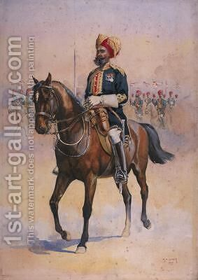 Soldier of the 14th Murrays Jat Lancers Risaldar-Major by Alfred Crowdy Lovett - Reproduction Oil Painting