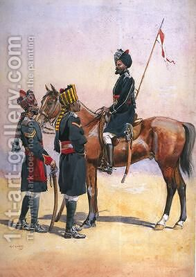 Soldier of the 33rd Queens Own Light Cavalry Daffadar Musalman Rajput and the 34th Prince Albert Victors Own Poona Horse Ratore Rajput by Alfred Crowdy Lovett - Reproduction Oil Painting