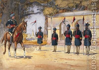 Soldiers of the 10th Duke of Cambridges Own Lancers Hodsons Horse The Quarter Guard by Alfred Crowdy Lovett - Reproduction Oil Painting