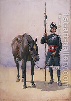 Soldier of the 19th Lancers Fanes Horse Punjabi Musalman by Alfred Crowdy Lovett - Reproduction Oil Painting