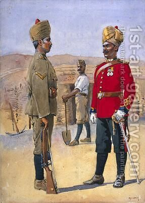 Soldiers of the 3rd Sappers and Miners Lance Naik Brahman of Oudh Jemadah Dekhani Mahratti by Alfred Crowdy Lovett - Reproduction Oil Painting
