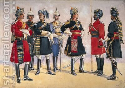 British Officers Indian Army by Alfred Crowdy Lovett - Reproduction Oil Painting
