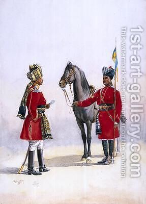 Alwar Lancers Commandment and Chohan Rajput by Alfred Crowdy Lovett - Reproduction Oil Painting