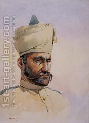 Soldier of the 40th Pathans Malikdin Khel Afridi by Alfred Crowdy Lovett - Reproduction Oil Painting