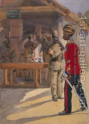 Soldiers of the 2nd Queens Own Sappers and Miners outside The Workshop Havildar Subedar by Alfred Crowdy Lovett - Reproduction Oil Painting