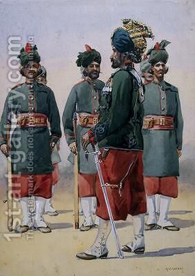 Soldiers of the 127th Queen Marys Own Baluch Light Infantry by Alfred Crowdy Lovett - Reproduction Oil Painting