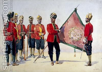 Soldiers of the Carnatic Infantry by Alfred Crowdy Lovett - Reproduction Oil Painting