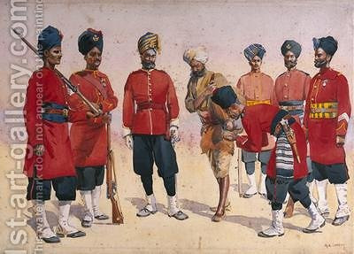 Soldiers of the Rajput Regiment by Alfred Crowdy Lovett - Reproduction Oil Painting