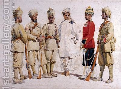 Soldiers of the 19th Punjabis Afridi of Tirah by Alfred Crowdy Lovett - Reproduction Oil Painting